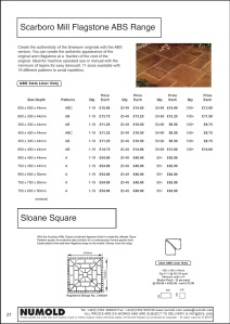 Numold - Moulds for Concrete Products - ABS Price List Page 21 - Scarboro Mill Worn Flagstones