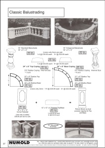 Numold - Moulds for Concrete Products - ABS Price List Page 37 - Classic Balustrades