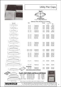 Numold - Moulds for Concrete Products - ABS Price List Page 6 - Utility Pier Caps