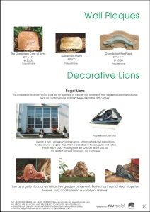 Numold - Moulds for Concrete Products - PU Price List Page 28 - Wall Plaques & Decorative Lions